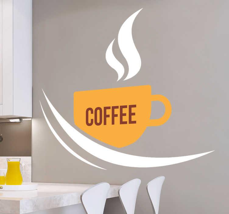Tenstickers. Kopp kaffe dryck klistermärke. Denna klistermärke med en ångande kopp kaffe och texten kaffe är ett kreativt sätt att dekorera ditt kök. Dimensionerna kan anpassas efter egna önskemål.
