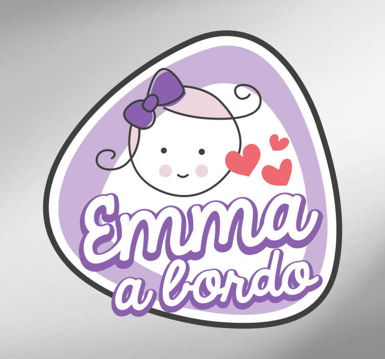 TenStickers. name baby in car decal. Baby on board car sticker designed with a pretty cartoon baby with customisable name. Provide any name for the design. Easy to apply and adhesive.