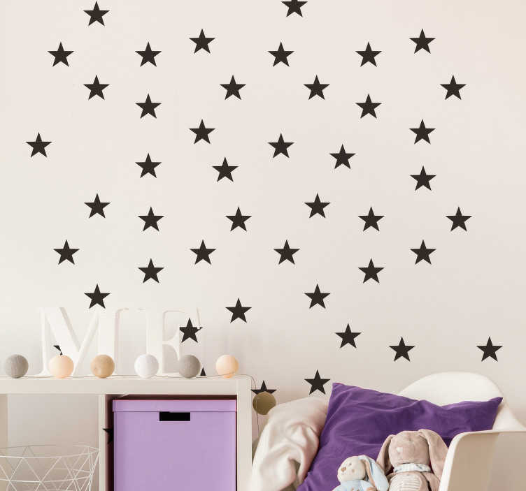 TenStickers. En flok stjerner væg klistermærke. Samling af små stjerner væg klistermærke, en perfekt dekoration til dine børns soveværelse! Tilføj nogle magi til deres værelse med dette storslåede design!