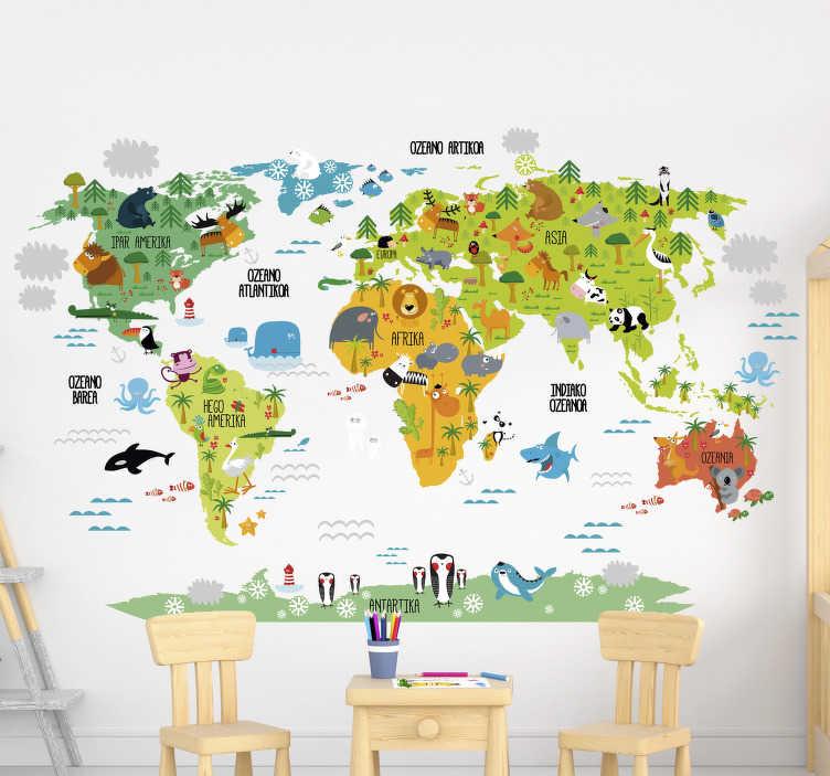 TenVinilo. Vinilo habitación infantil mundo animales euskera. Original vinilo adhesivo para habitación infantil con el diseño de un colorido mapa del mundo con los textos en euskera. +50 Colores Disponibles.