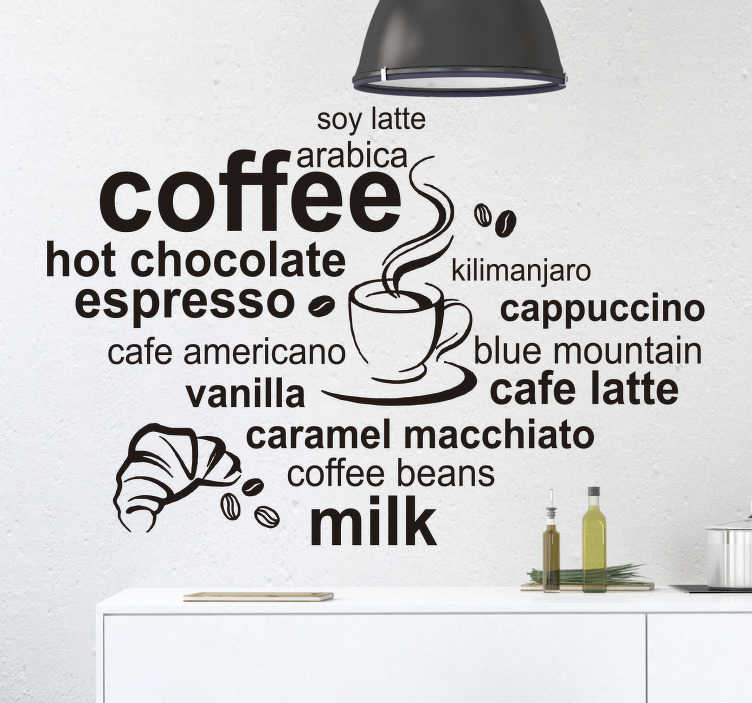 TenStickers. Types of Coffee Wall Sticker. Perfect for any budding - or genuine - baristas! A decal depicting various different types of coffee and its ingredients.