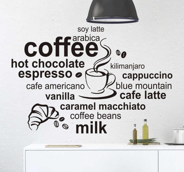 TenStickers. Typer af kaffe væg klistermærke. En kaffe væg klistermærke til enhver kaffe elsker! Væg dekal illustrerer forskellige typer kaffe lægge denne klistermærke på en væg i dit køkken eller spisestue for at udtrykke din kærlighed til kaffe! Vinyl klistermærke er tilgængelig i mange forskellige størrelser - vælg den du kan lide mest!