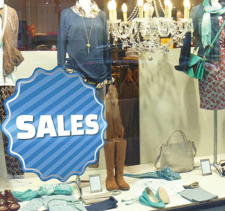 Tenstickers. Blå randig försäljning klistermärke. Upptäck ett nytt sätt att dekorera din butik för att marknadsföra din försäljning med denna blå randiga klistermärke i form av ett runda stämpel för ett garanterat resultat. Snabb leverans. Anpassningsbar.