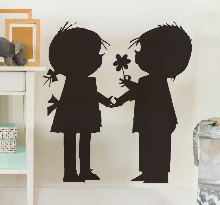 TenStickers. Kinderkamer muursticker Jip en Janneke silhouetten. Deze muursticker illustreert Jip en Janneke die elkaars hand vasthouden. Perfect voor de decoratie van de kinderkamer.