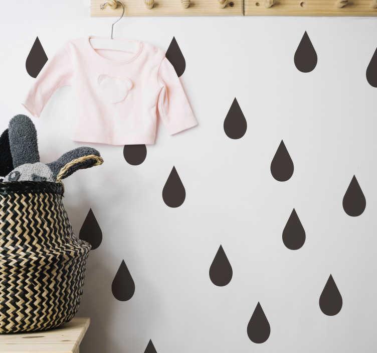 TenStickers. Regndråber stue væg indretning. Lav et nyt udseende i stuen, soveværelset eller børnenes værelse med denne regndråber væg klistermærke. Farve og dimensioner justerbar.