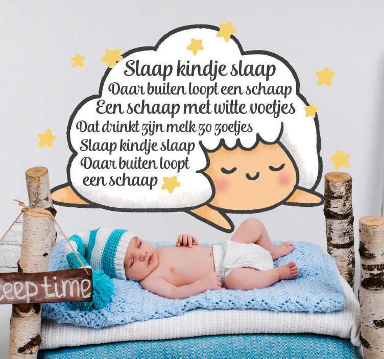 TenStickers. Kinderkamer muursticker Slaap Kindje Slaap. Laat uw kind heerlijk wegdromen onder deze muursticker met de tekst van het beroemde slaapliedje Slaap Kindje Slaap.