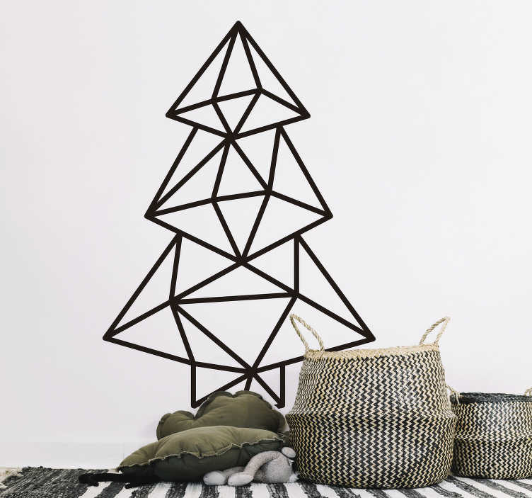 TenStickers. Feestdagen sticker geometrische kerstboom. Een originele muursticker waar een geometrische kerstboom is afgebeeld is ideaal om uw woning of winkel te decoreren deze kerst. Keuze uit 50+ kleuren.