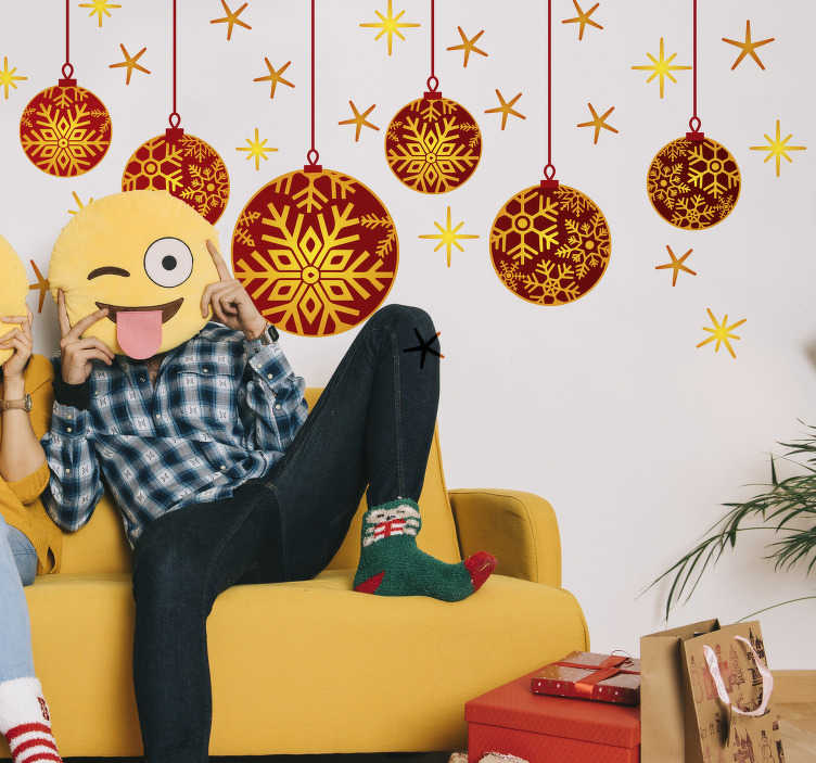 TenStickers. Christmas Decorations Wall Sticker. Get into the festive spirit with this sticker depicting baubles and stars! Good for Christmas. Anti-bubble vinyl. Easy to apply.