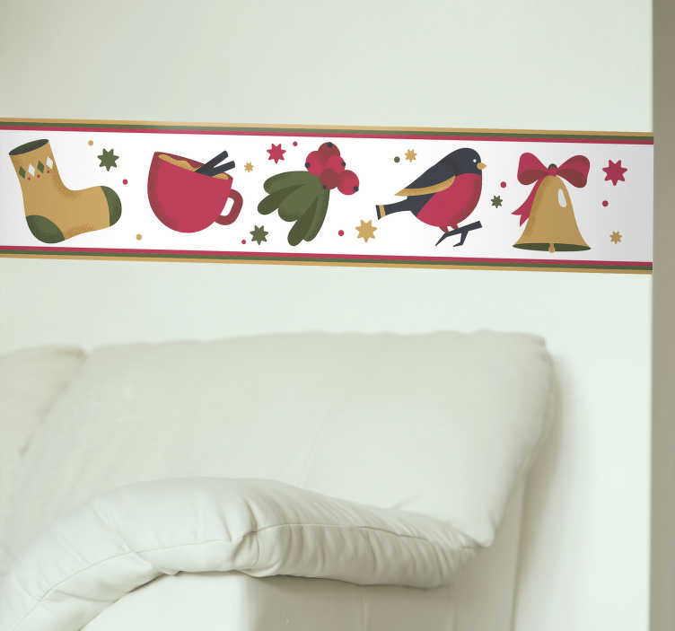 TenStickers. Christmas Decorations Strip Wall Sticker. Decorate a wall or four with this fantastic Christmas themed strip sticker! Sign up for 10% off.