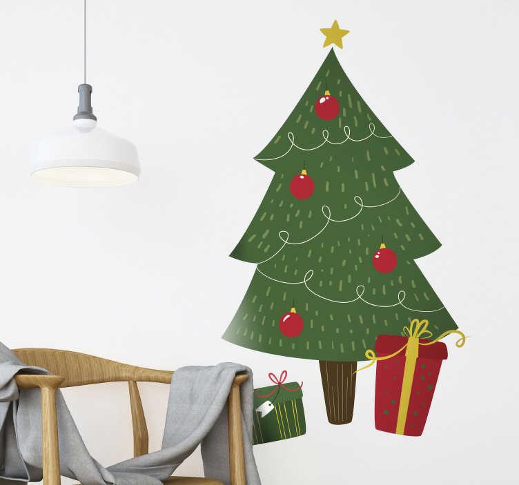 TenStickers. Bedrijfssticker kerstboom met geschenken. Met deze kerstboom muursticker stoomt u uw winkel of woning klaar voor Kerstmis. Afmetingen geheel naar eigen wens aanpasbaar. Ook voor ramen en auto's.