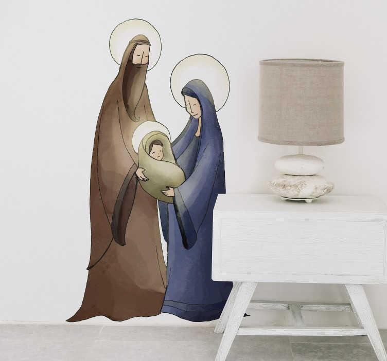 TenStickers. Sticker Entrée Crèche de Noël. Décorez votre salon ou couloir pour les fêtes de Noël avec ce magnifique sticker représentant Joseph et Marie tenant dans leurs bras le petit Jesus. Expédition sous 24/48h.