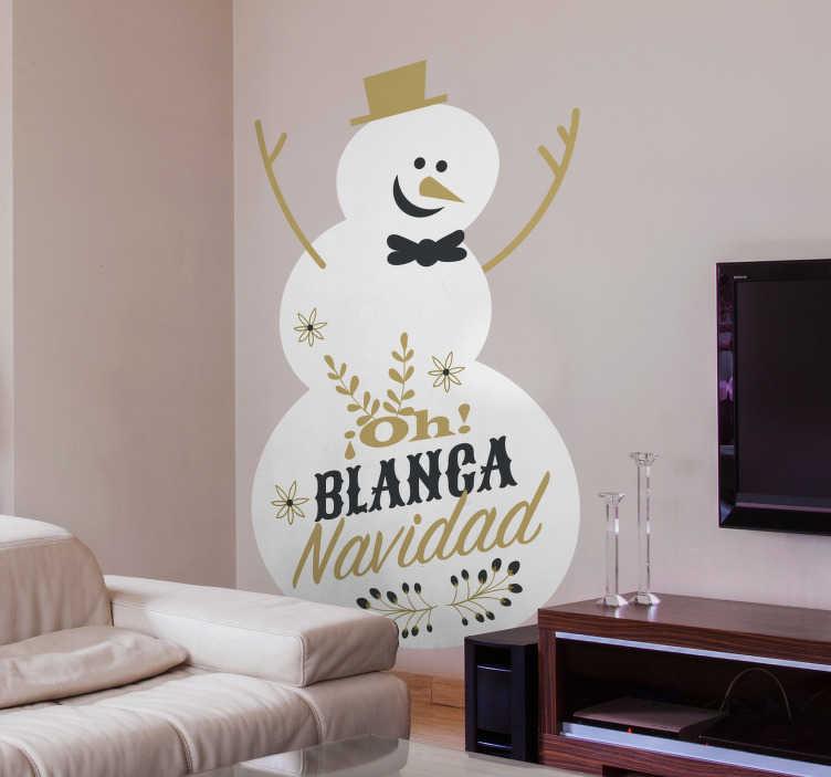 TenVinilo. Vinilo pared blanca navidad. Vinilo decorativo Navidad de un muñeco de nieve divertido y la letra de un popular villancico. Más de 10.000 clientes satisfechos con nuestros productos