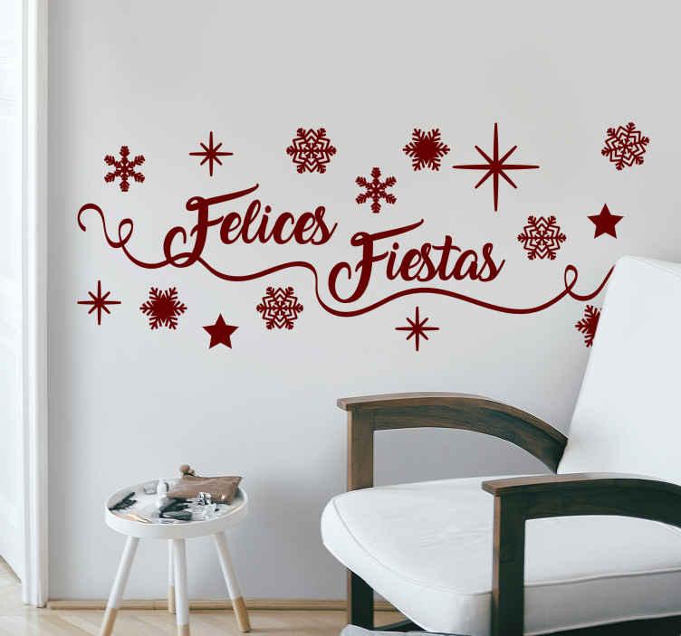 TenVinilo. Vinilo frase felices fiestas. Pegatina personalizada Navidad para desear felices fiestas a tus clientes o tus invitados en estas fechas señaladas. Servicio de Atención al Cliente Personalizado