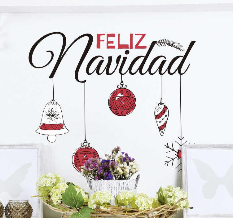 TenVinilo. Vinilo pared feliz navidad. Vinilo navidad adhesivo con el que podrás felicitar a los invitados de tu casa o a los clientes de tu negocio. Servicio de Atención al Cliente Personalizado