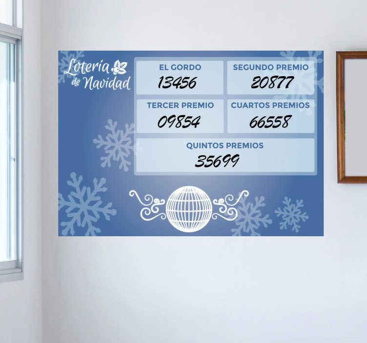 TenVinilo. Vinilo pizarra lotería de navidad. Pizarra velleda adhesiva para marcar cuáles son los números premiados en el gordo de Navidad, ideal para administraciones de lotería.