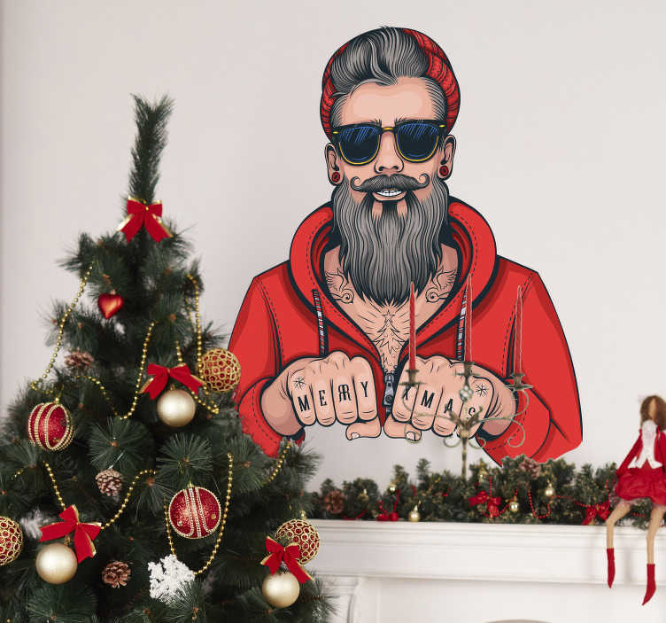 TenStickers. Adesivo murale Babbo Natale hipster. Adesivo murale Natale con un originalissimo Babbo Natale hipster, ricoperto di tatuaggi e con barba e baffi curati. Ideale per il salotto o come adesivo per vetrine negozi. Personalizza la misura