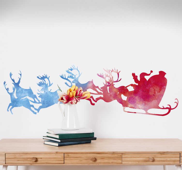 TenStickers. Tienerkamer muursticker aquarel Kerstman. Muursticker met een bijzonder ontwerp van de klassieke, magische kerstslee meegesleurd door zijn vliegende rendieren. Personaliseren vanaf €3.