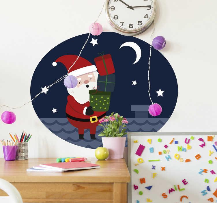 TenVinilo. Vinilo pared Papa Noel chimenea. Vinilo navidad adhesivo con un dibujo alegre de Papá Noel a punto de entregar los regalos en una casa. Compra Online Segura y Garantizada