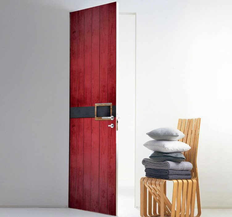 TenStickers. Deursticker Kerstman. Uw woning is pas af met deze deursticker van rode houtstructuur, die het figuur van de Kerstman en zijn klassieke riem nabootst. Snelle klantenservice.