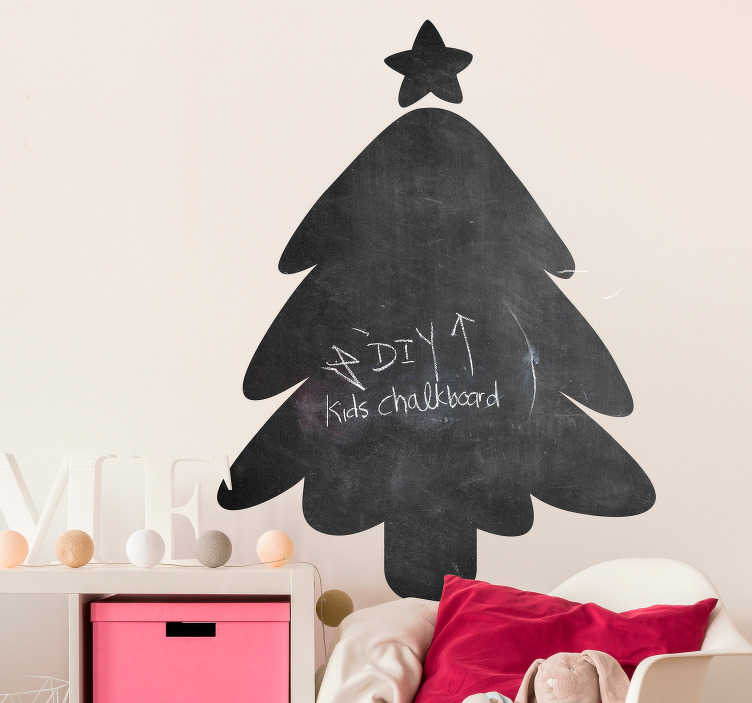 TenStickers. Autocolantes de Natal arvore de natal. Silhueta de árvore de Natal em ardósia para decorar as paredes da sua casa nesta epoca festiva que aí vem