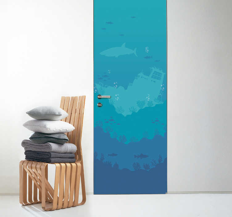 TenVinilo. Vinilo marinero 3d fondo marino. Vinilo decorativo 3D para puerta que simula gracias a los tonos azules y a varios detalles, el fondo marino. Atención al cliente personalizada.