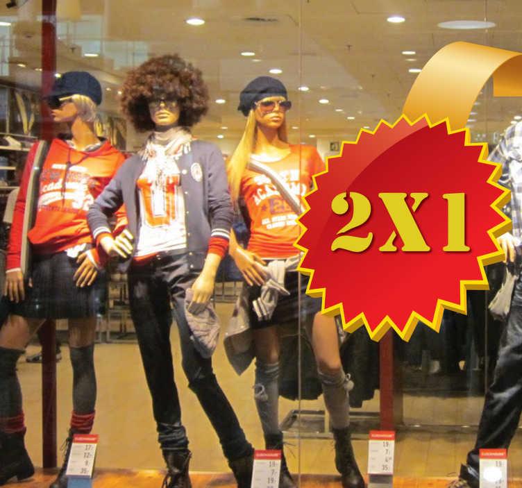 TenStickers. Promoție autocolant de vânzare 2x1. Decorați-vă magazinul pentru a anunța clienților dvs. Vânzările potențiale disponibile pentru dvs. în magazinul dvs. Dimensiunea acestei decalari este ajustabila in functie de nevoile dumneavoastra.
