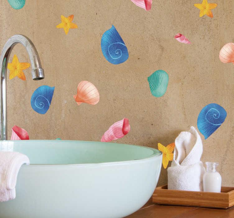 TenStickers. Adesivo murale conchiglie colorate. Sticker conchiglie di mare per dare un tocco originale e colorato al tuo bagno! Di semplice applicazione, originale ed economico.