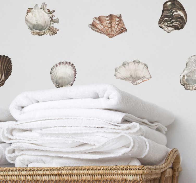 TenStickers. Badkamer sticker zeeschelpen. Breng uw badkamer op een unieke, originele en gemakkelijke manier tot levendoor middel van deze zeeschelpen muursticker. Dagelijkse kortingen.