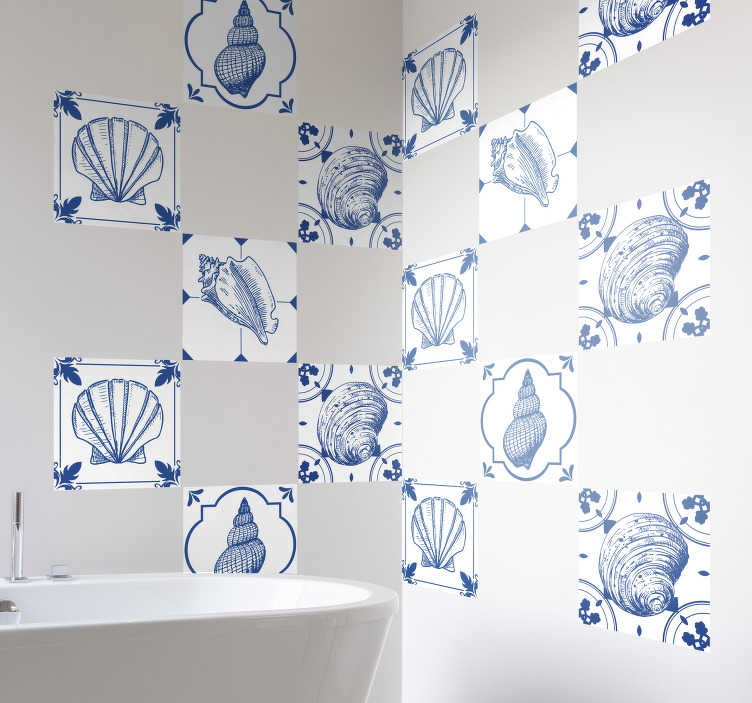 TenStickers. Seashells Wall Tile Sticker. Add some seashells to your home with this fantastically innovative wall border sticker! Choose your size.