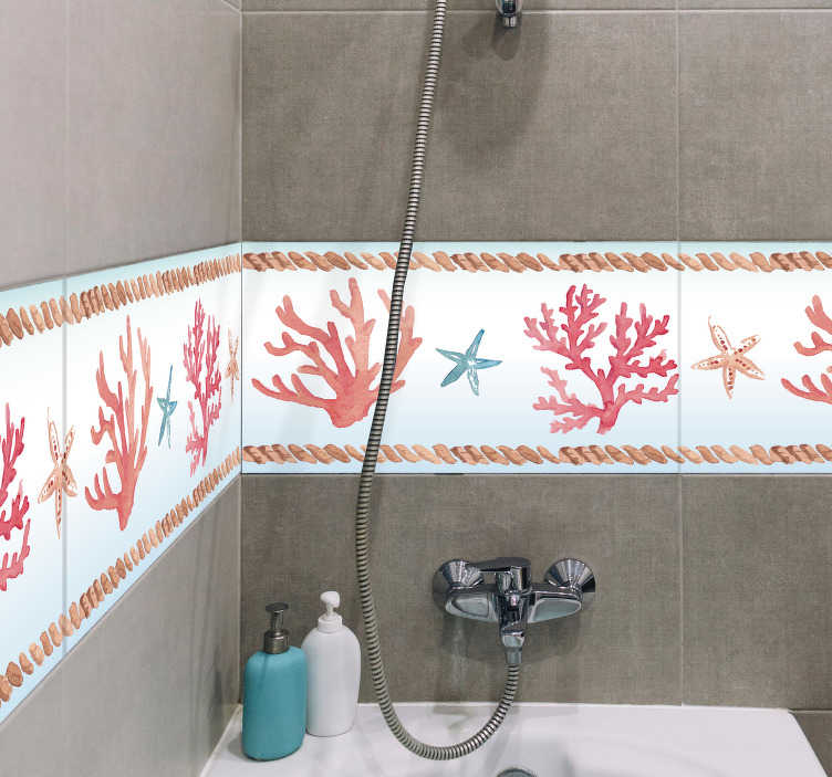 TenStickers. Coral Bathroom Tile Sticker. Add some coral decor to your bathroom with this fantastic wall border sticker! Discounts available.