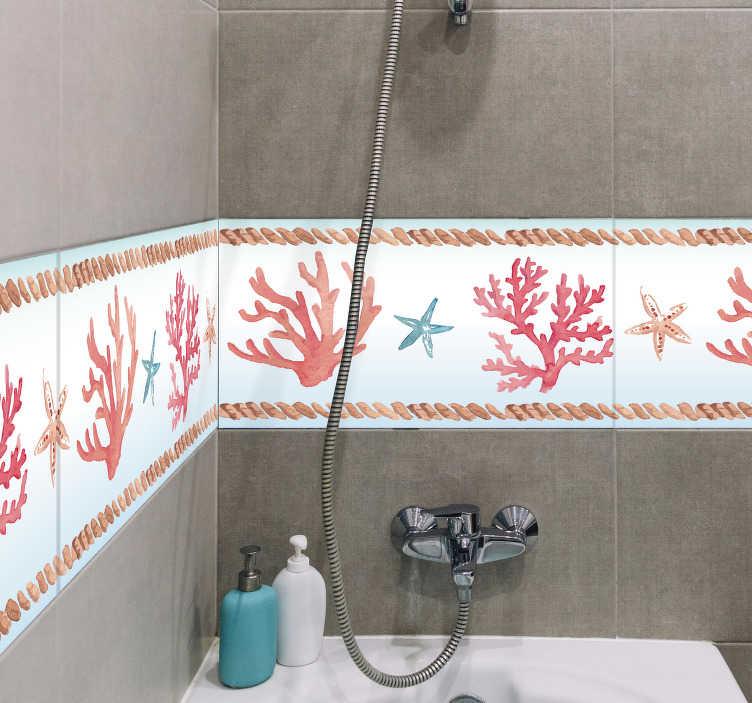 TenStickers. Sticker Salle de Bain Frise Corail. Pour une petite touche de Méditerranée à la décoration de votre salle de bain, rien de mieux que ce sticker frise de motifs coraux et étoiles de mer !