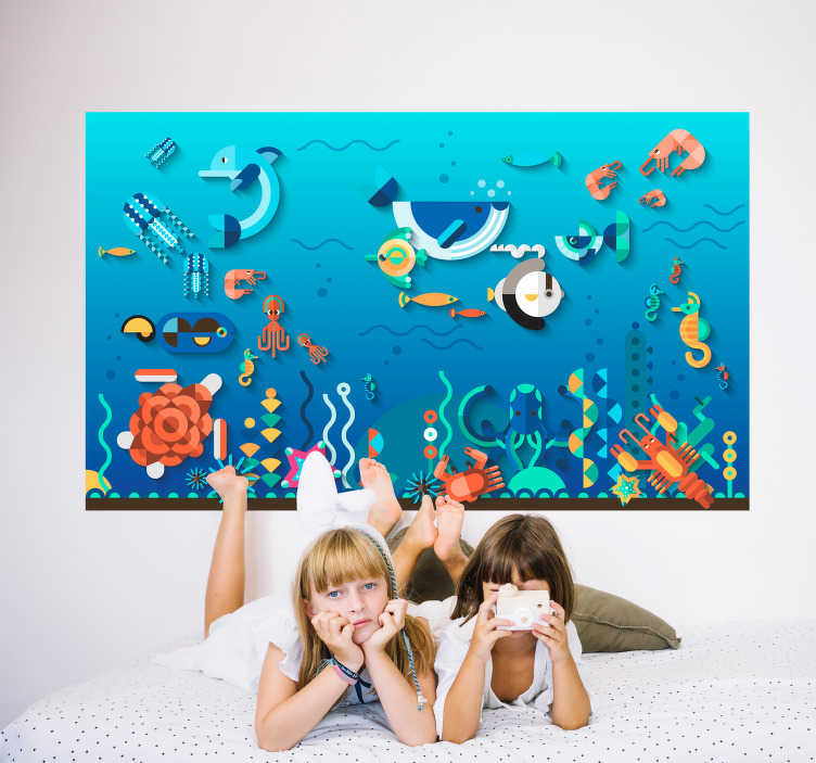 TenVinilo. Vinilo marinero fondo marítimo. Mural adhesivo infantil con temática del fondo del mar muy colorido ideal para la habitación de los más pequeños. Compra Online Segura y Garantizada.