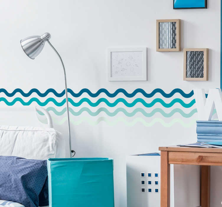 TenStickers. Aufkleber Linien Wandbordüre Blautöne. Einfacher geht nicht! Dieser unglaubliche Wellen Aufkleber gibt der präferierten Stelle Ihre Note von Individualität. Persönliche Beratung