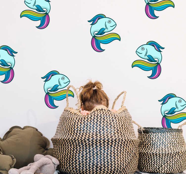 TenStickers. Kinderkamer muursticker neon vissen. Vissen zijn altijd een leuk idee voor in de kinderkamer! Deze muursticker omvat neon vissen met vinnen in regenboog kleuren. Ook voor ramen en auto's.