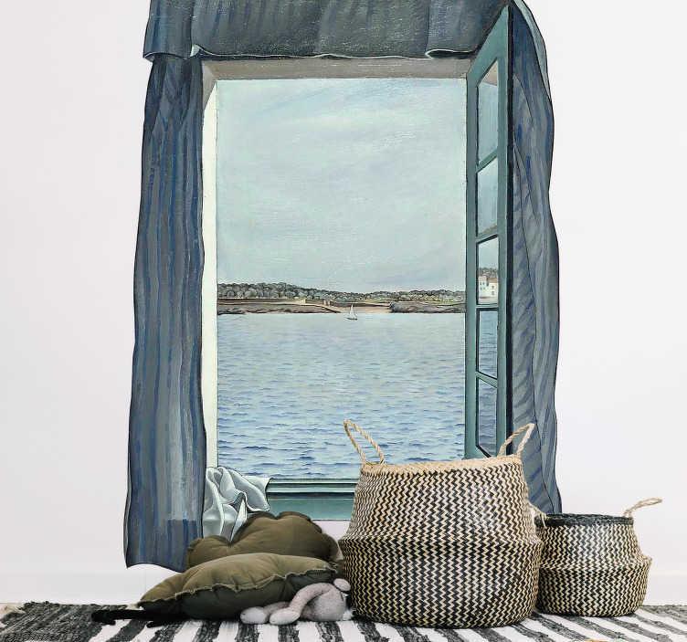 TenStickers. Slaapkamer muursticker trompe l'oeil foto van de zee. Met deze muursticker creëert u uw eigen raam met uitzicht op de zee. Misleid eenieder met dit ontwerp in trompe l'oeil stijl. Dagelijkse kortingen.