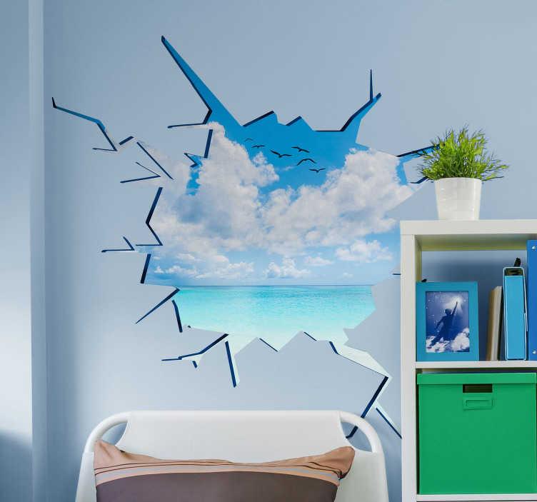 TenStickers. Trompe l'oeil nálepka na moři a na pláži. Trompe l'oeil nástěnná samolepka na pláži s čistým modrým mořem. To vytváří letní pocit ve vašem domě. Zkušený návrhářský tým.