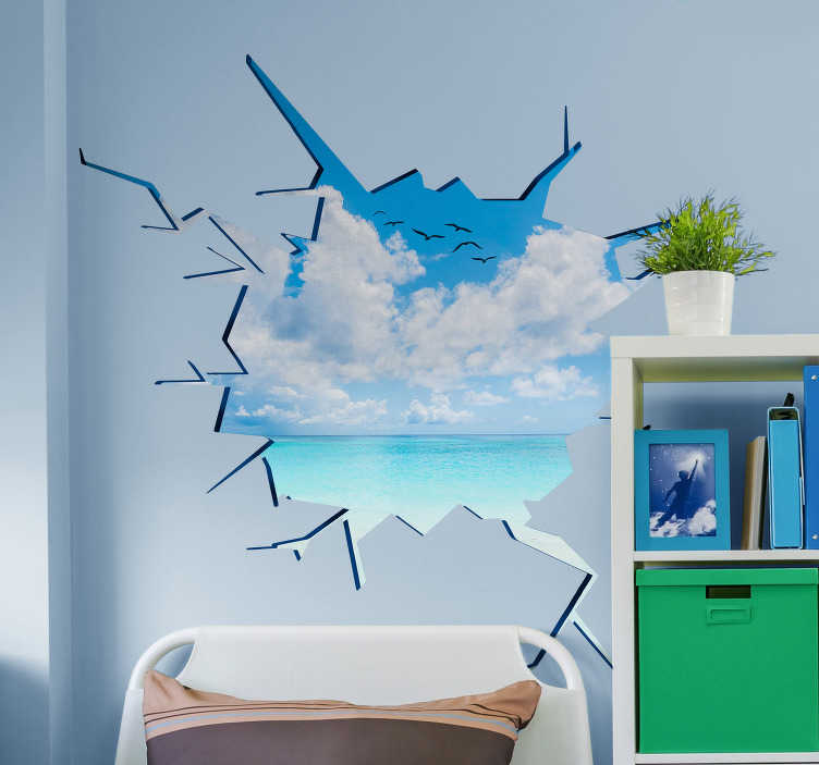 TENSTICKERS. Trompe l'oeil sea and beach wallステッカー. 透明な青い海の浜のtrompe l'oeil壁のステッカー。これはあなたの家に夏の気分を作り出します。経験豊富な設計チーム。