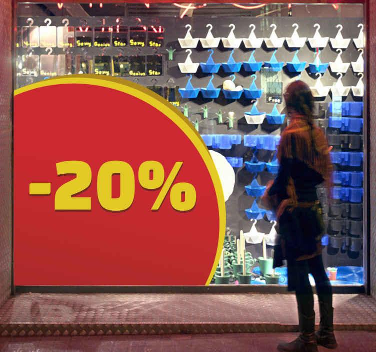TenStickers. Colț promoție vânzare autocolant. Decorați fereastra magazinului dvs. Cu cele mai recente oferte exclusive pentru a vă informa clienții despre tranzacțiile pe care le-ați implementat efectiv în magazinul dvs. Livrare rapidă.