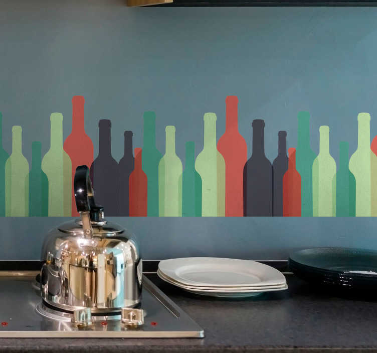 TenVinilo. Vinilo pared botellas de vino. Original cenefa decorativa adhesiva ideal para un restaurante con un estampado de botellas de vino en varios colores. Precios imbatibles.