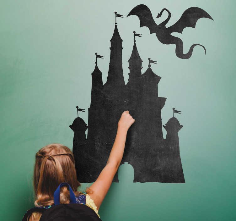 TenVinilo. Vinilo pared castillo medieval. Fantástico vinilo adhesivo de pizarra ideal para habitación infantil con el diseño de un castillo y un dragón. Promociones Exclusivas vía e-mail.