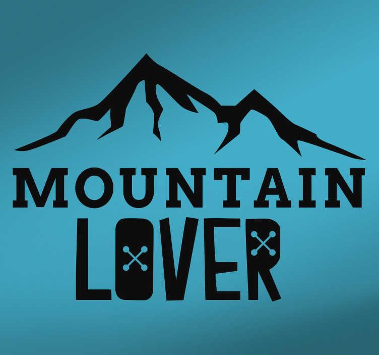 """TenVinilo. Vinilo pared coche montaña. Pegatina adhesiva para coche o caravana formado por el texto """"Mountain Lover"""" acompañado de una ilustración. Atención al Cliente Personalizada."""