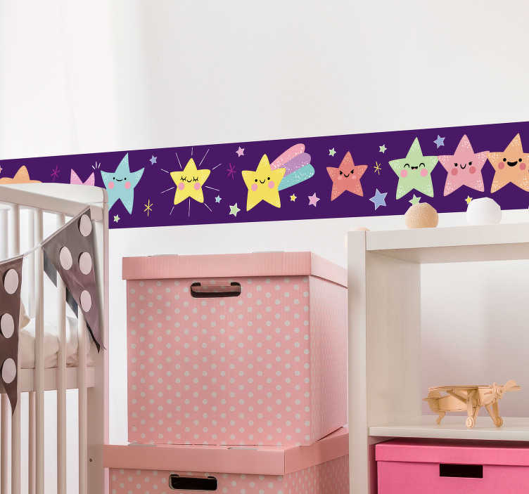 TenStickers. Multicoloured Stars Wall Sticker. Furnish your child´s bedroom with this fun wall sticker! Anti-bubble vinyl.