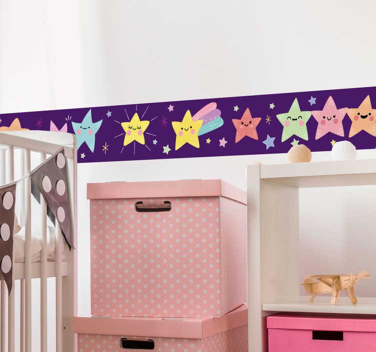 TenVinilo. Cenefa adhesiva estrellas de colores. Cenefa adhesiva para habitación infantil formada por varias estrellas de diferentes colores sobre fondo lila. Vinilos Personalizados a medida.