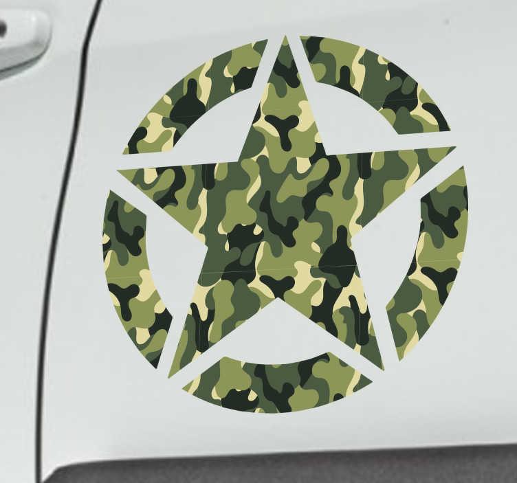 TenStickers. Auto sticker militaire sterren. Een stoere decoratie sticker voor uw voertuig. Omvat het ontwerp van een militaire ster. Afmetingen aanpasbaar. Eenvoudig aan te brengen.