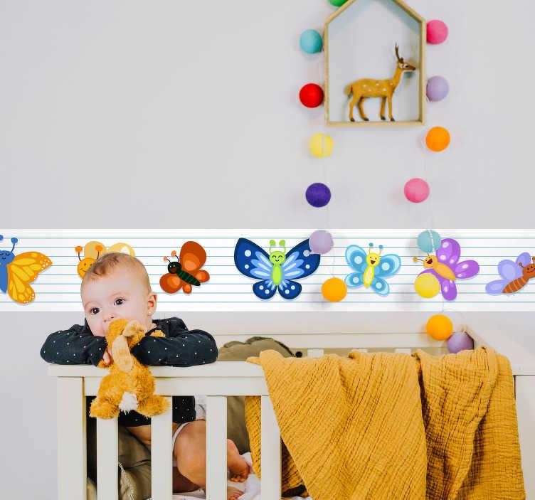 TenVinilo. Vinilo pared cenefa mariposas. Original y colorida cenefa infantil con estampado de mariposas sobre fondo blanco con rayas azules. +10.000 Opiniones satisfactorias.