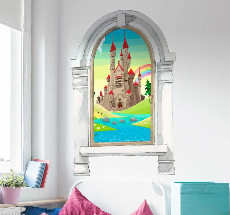 TenStickers. Kinderkamer muursticker sprookjes landschap. Creëer een magische kinderkamer met deze fotobehang sticker van een schitterend paleis met een regenboog die erachter gloeit. Ervaren ontwerpteam.