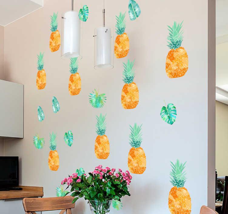 TenVinilo. Vinilo pared patrones piña. Original y colorido vinilo adhesivo con temática tropical, formado por un patrón de piñas y hojas. Atención al Cliente Personalizada.