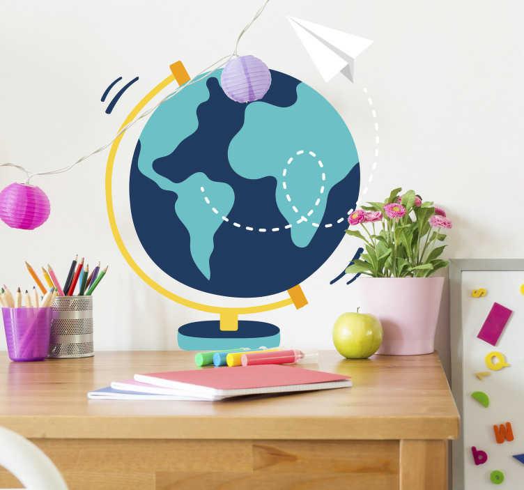 TenStickers. Nálepka na zeď na světě. Ozdobte svou zeď s touto fantastickou globální nálepkou! Snadné použití.