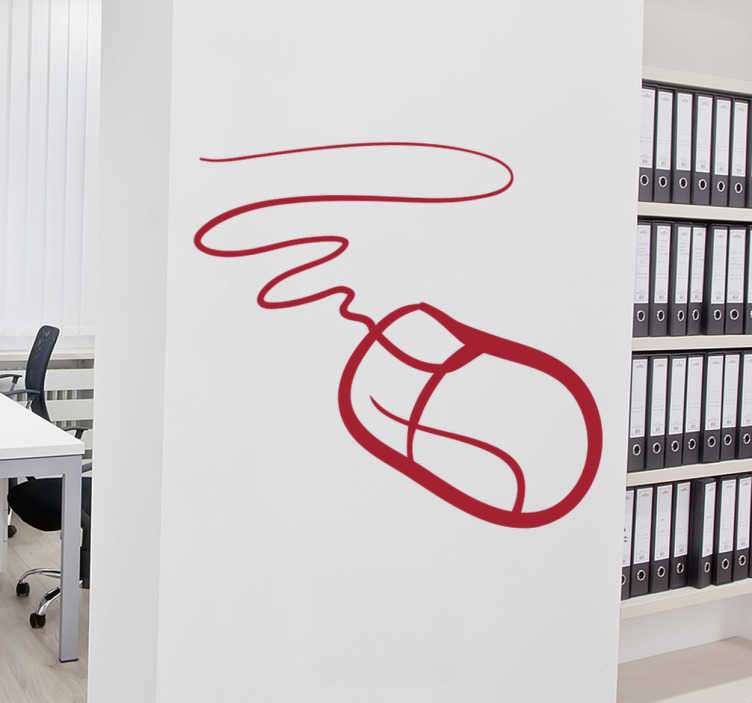 TenStickers. Computer Mouse Wall Sticker. Fantastic monochrome wall sticker for creating a professional atmosphere in the office. Use this technology mouse wall sticker to quickly and easily improve the feel of your business fro the employees and clients, available in a wide range of colours and sizes.