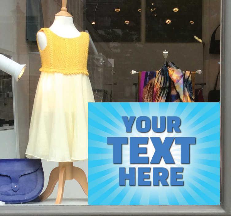 TenStickers. Blaues Textfeld Aufkleber. Dekorieren Sie Ihr Schaufenster mit diesem Schaufensteraufkleber und locken Sie so Kunden in Ihr Geschäft!